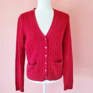 Brooks Brothers Wool and Cashmere Red Cardigan